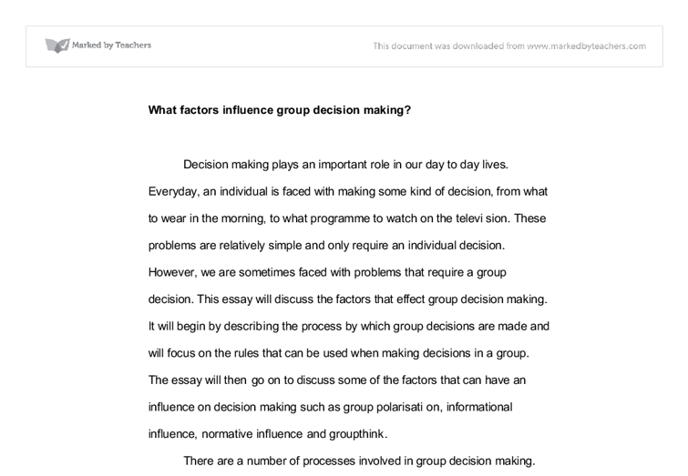 What factors influence group decision making? - University ...