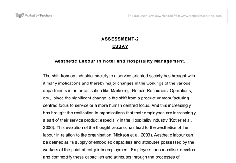 the role of aesthetic labour in hospitality university business  document image preview