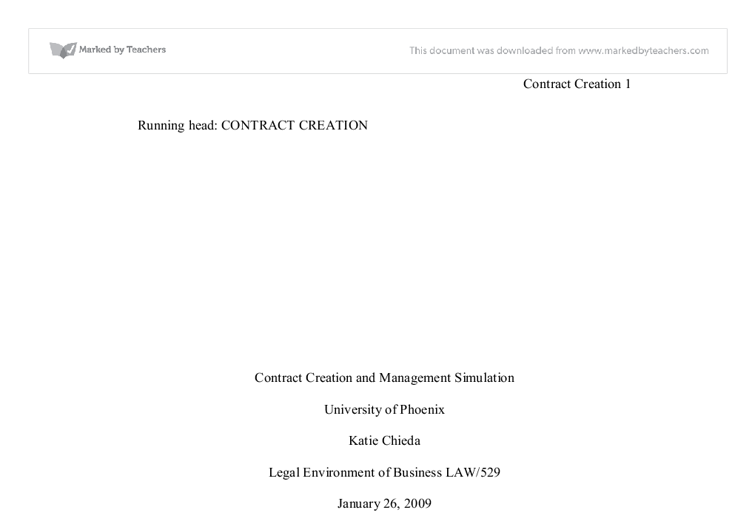 Contract creation management simulation essay