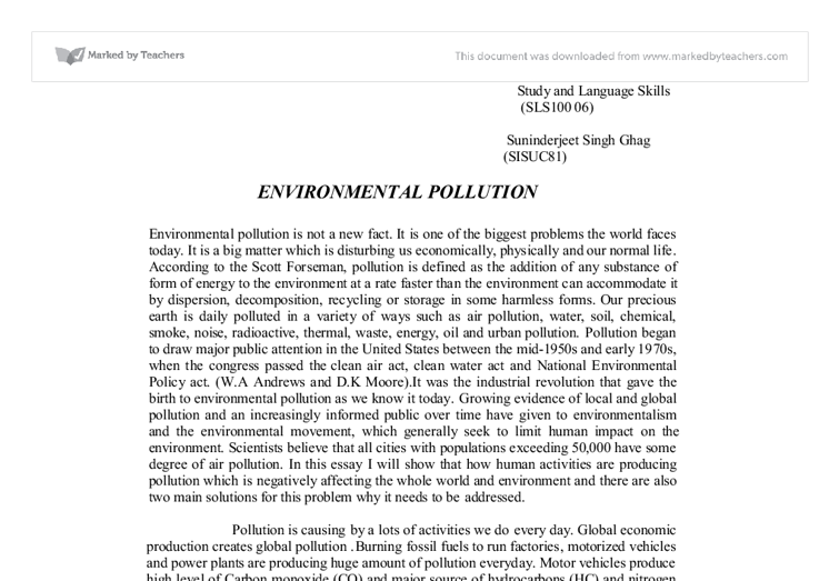short essay on problem of pollution