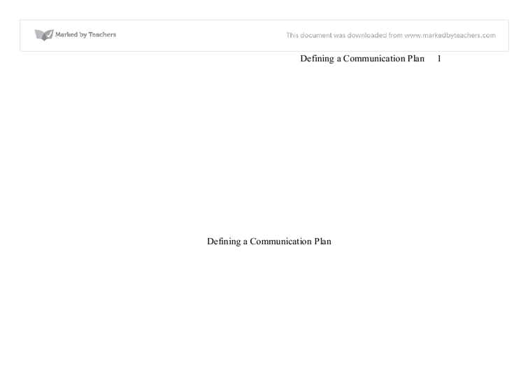 defining a communication plan essay Management and organizational processes: an underlying rhetorical model charles e beck, university of colorado at colorado springs  communication not as a means.
