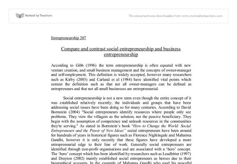 Compare And Contrast Social Entrepreneurship And Business