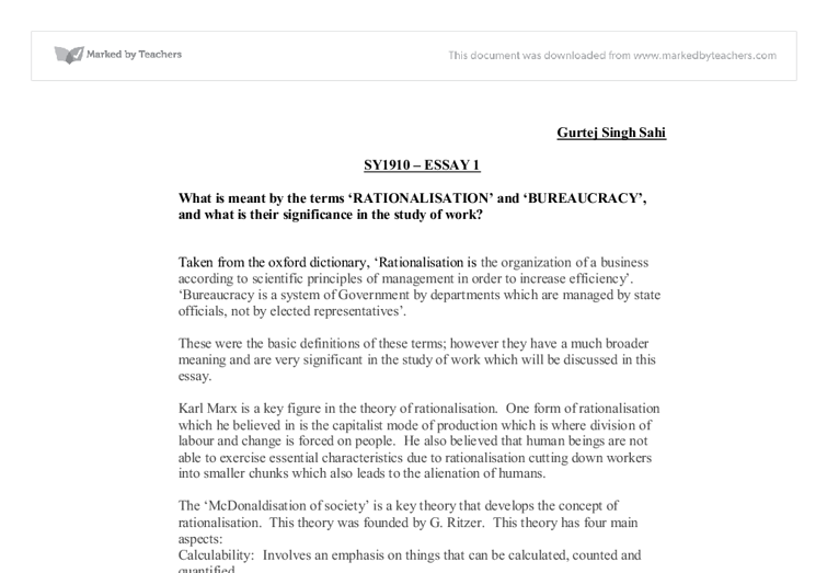 what is meant by the terms rationalisation and bureaucracy  document image preview