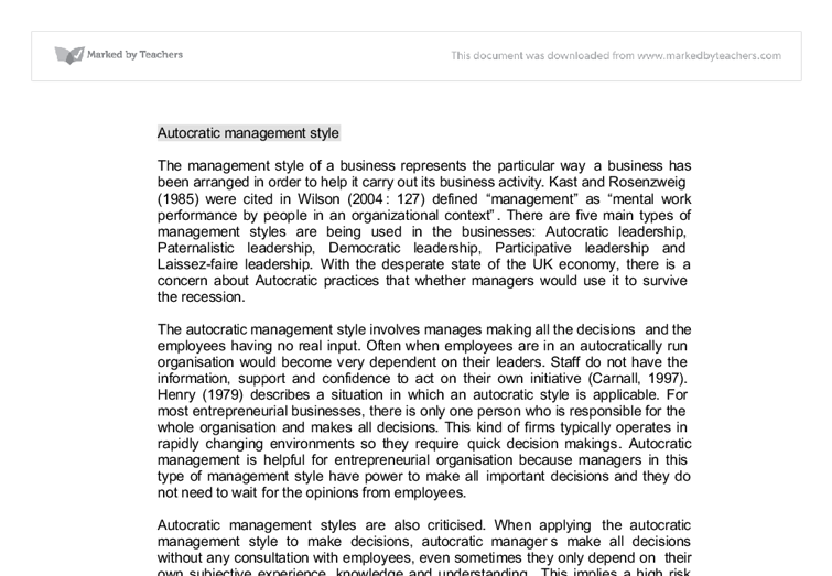 autocratic business leadership in a recession essay Carlos romero leadership studies lead2001 professor michael moskwa midterm project 9 april 2012 there are many different ways to attract and lead followers.