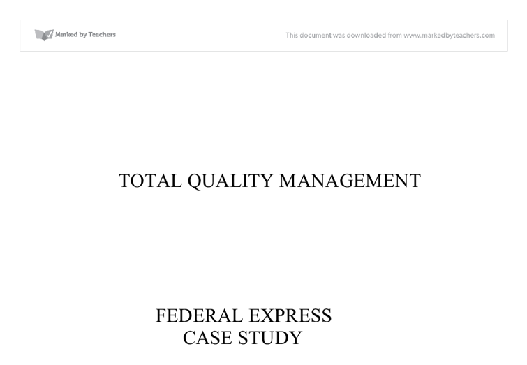 fedex case study analysis
