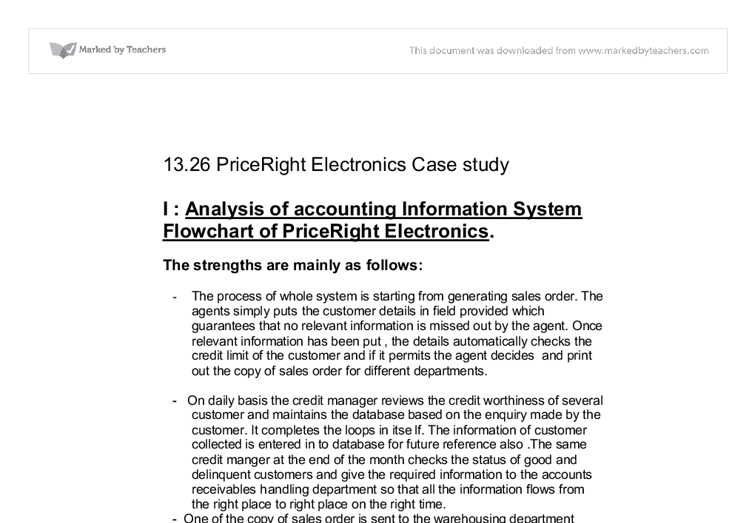 Analysis of accounting Information System Flowchart of PriceRight