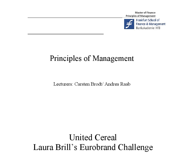 United Cereal: Lora Brills Eurobrand Challeng Harvard Case Solution & Analysis