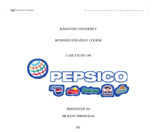 PEPSI'S CORPORATE AND BUSINESS-LEVEL STRATEGIES - University