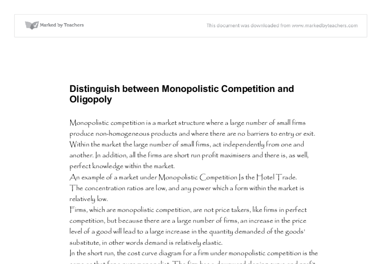 Oligopoly and monopoly markets Essay Sample