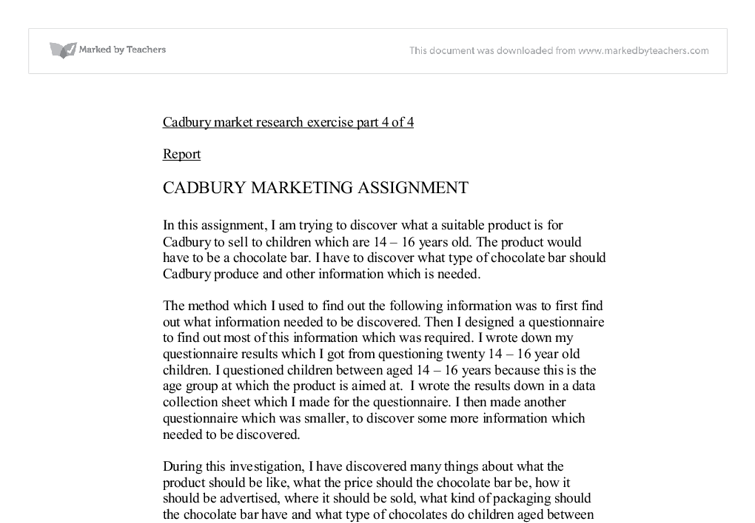 cadbury company essay Read this full essay on cadbury advertising  this report discusses a collaborative marketing strategy which can be employed by cadbury, where the company can.
