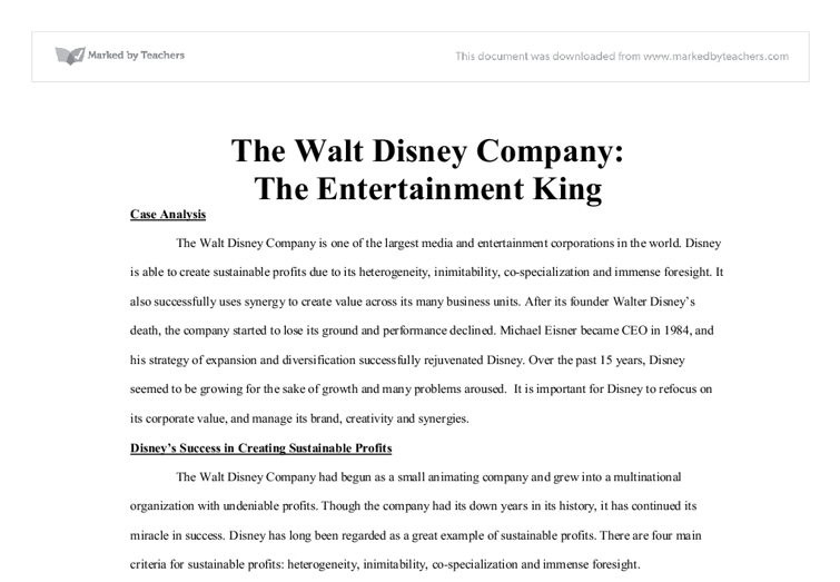 Walt Disney Company's Organizational Structure for Synergistic Diversification