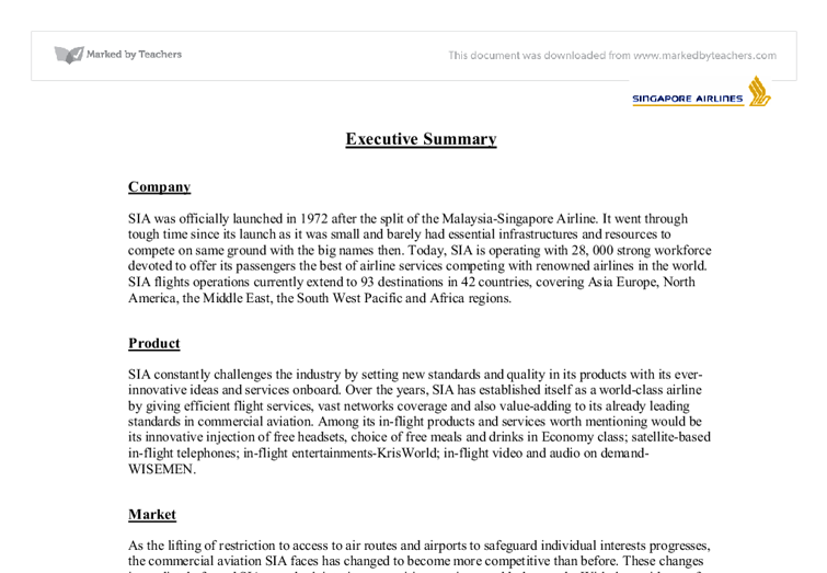 executive summary of singapore airlines university business and  document image preview