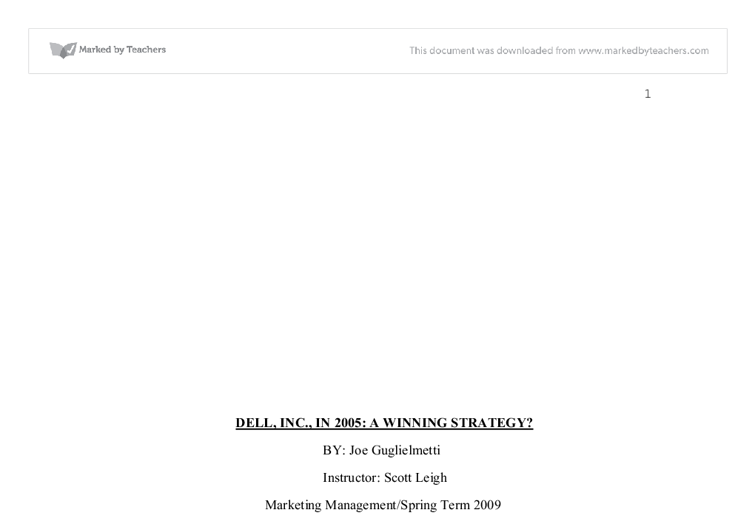 marketing approach for dell computers essay Marketing model of dell computers research papers overview the history of dell and how they market pc's research paper topics on dell or any other business topic can.
