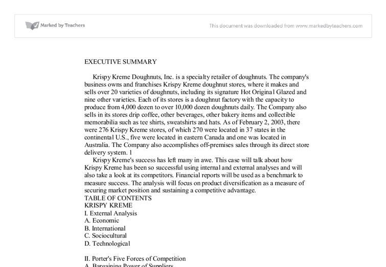 "krispy kreme executive summary Krispy kream fm - 1 group assignment krispy kreme doughnuts (""kkd"") krispy kreme case question based on historical data, krispy kreme doughnuts."