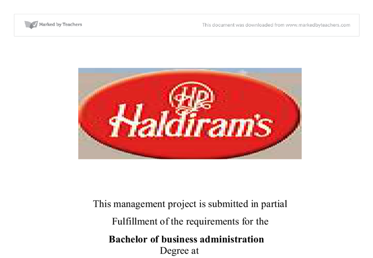 haldirams project