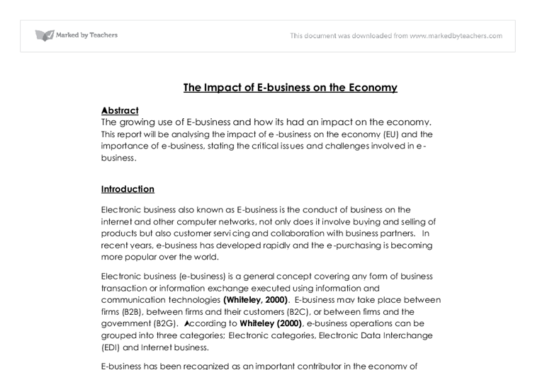 marketing and e business essay E-business strategy essaysthe impacts of globalization and new technology have significantly changed the ways in which enterprises are managed and.