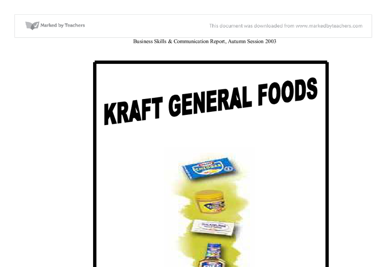 kraft general foods essay Kraft foods can say that it has achieved undisputed leadership in the eyes of others legal affairs and general counsel professional write my essay service.