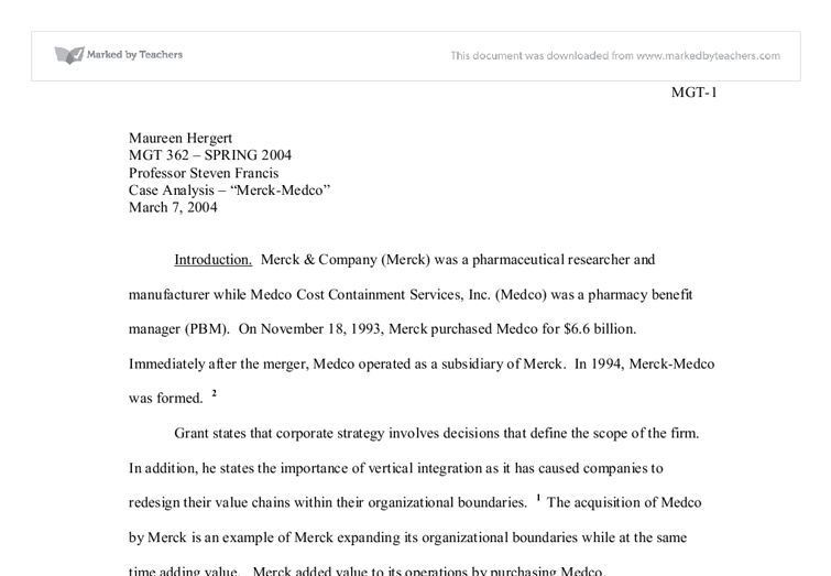 """merck essay Merck and co: business overview essay executive summary during the 1950´s, mr merck made it clear that merck has its competitive advantage because they stay true to their strategic vision, which is """"medicine is for the people, it is not about the profits""""."""