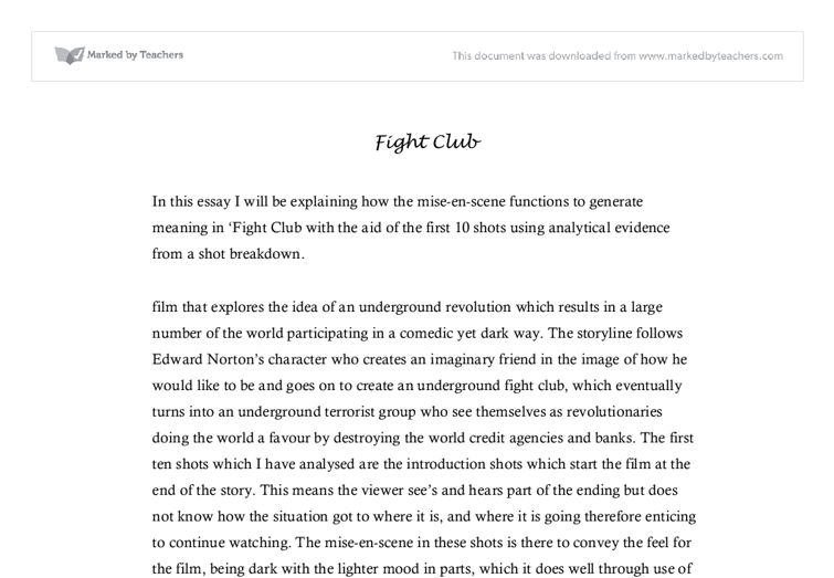 critical analysis fight club movie university creative arts and  document image preview