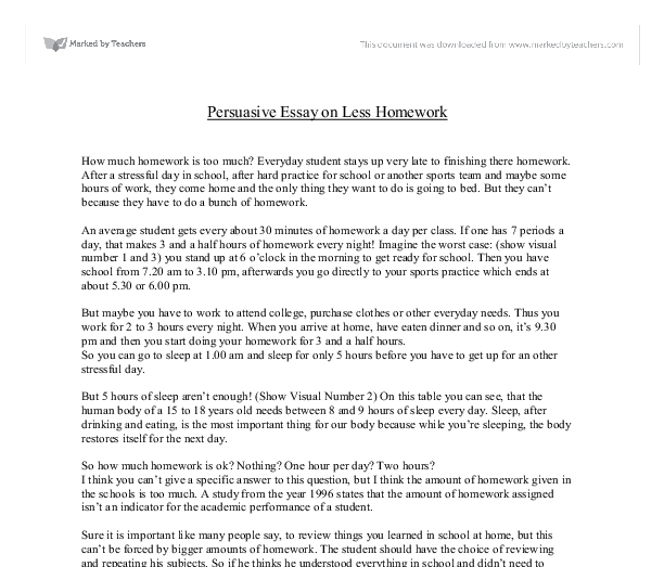 no homework policy essay Homework has historically been given to students to reinforce what they learn at school, and ultimately to help them learn the material better however, too much.