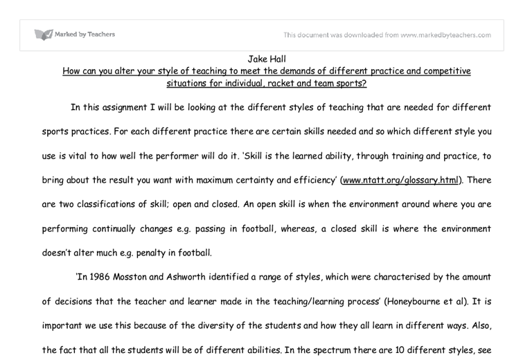 Essay on different teaching styles