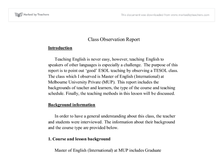 class observation report   university education and teaching