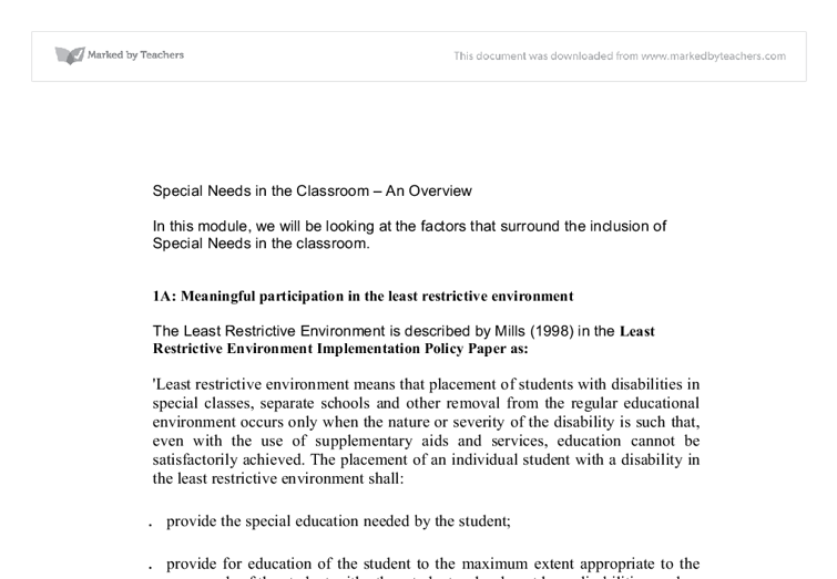 essay on special educational needs Special education conclusion the process of identifying students with special needs students who are eligible for special educational services under idea.