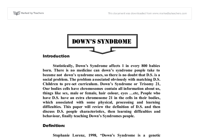 essay down syndrome down syndrome essay examples kibin