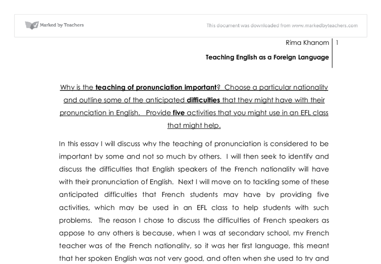 Why Is The Teaching Of Pronunciation Important Choose A  Document Image Preview