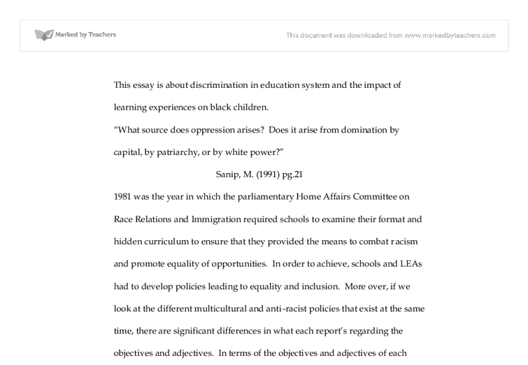 this essay is about discrimination in education system and the  document image preview