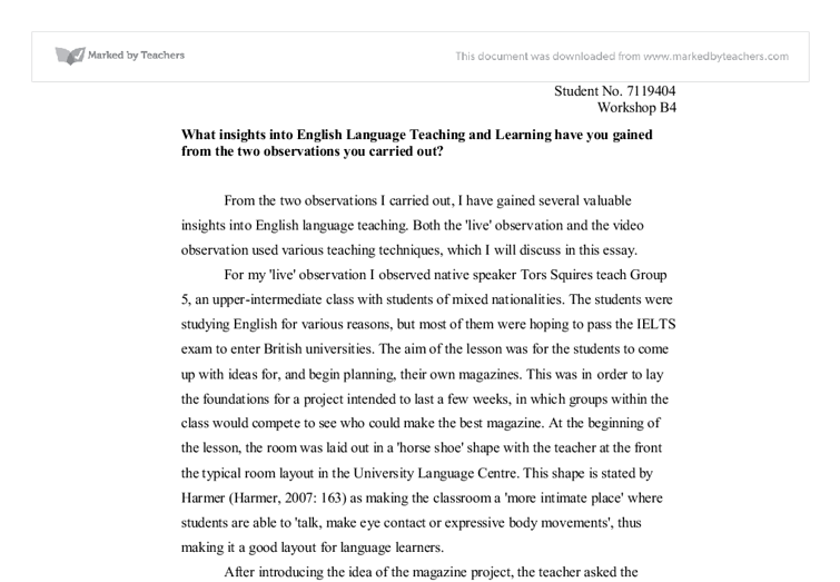 What Insights Into English Language Teaching And Learning Have You  Document Image Preview