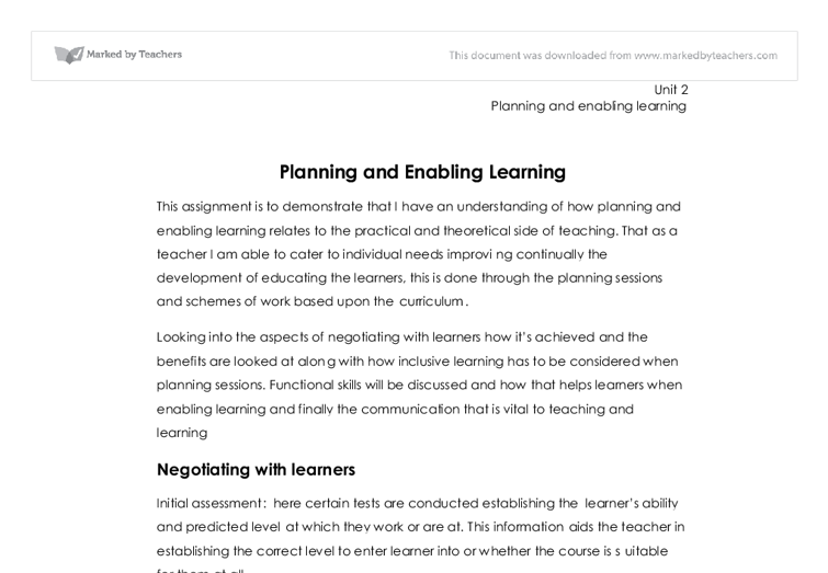 Planning and enabling learning essay