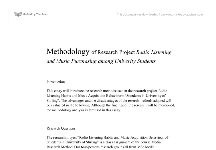 methodology of research project radio listening and music  document image preview