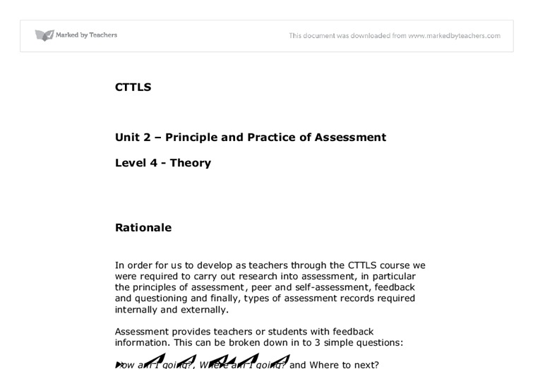 Understanding the Principles and Practices of Assessment Essay Sample