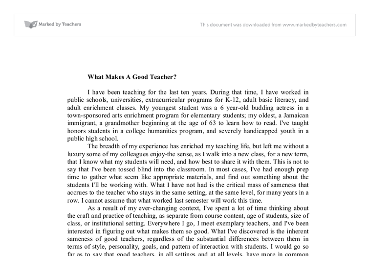 an essay on teachers Running head: a good teacher will make the difference in any student a good teacher will make the difference in any student corie sclements everest university reporting writing abstract a good teacher is hard to find one that really loves to teach students and is effect in what they teach.