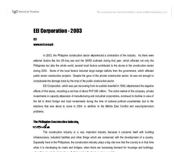 eei corporation eei essay Eei corporation : company profile, business summary, shareholders, managers,  financial ratings, industry, sector and market information   philippine stock.