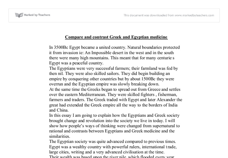 compare contrast essay greece egypt
