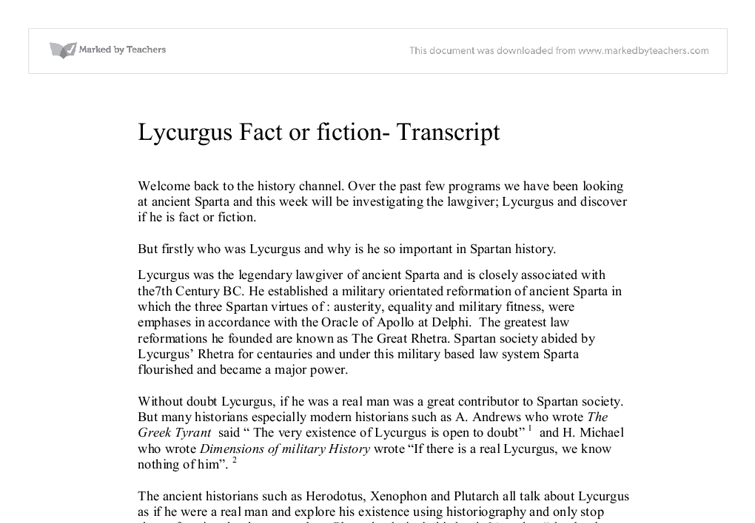 significance of lycurgus essay