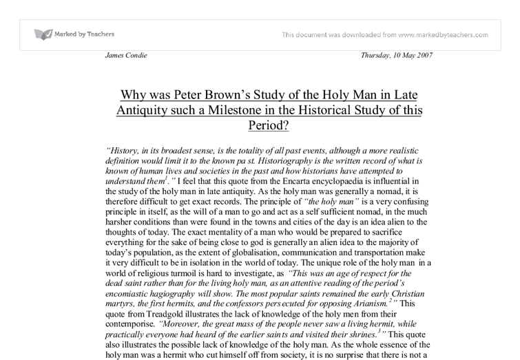 antiquity brown essay honor in in late peter philosopher society Peter brown was born in dublin those of the historian, the philosopher society & the holy in late antiquity (1982.