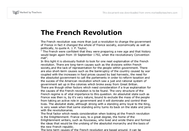 thesis on french revolution The french revolution was a period of time from 1789 to 1799 in france where there was political instability it officially began on the 14th of july, 1789, when the bastille, which was a symbol of the king's harsh policies, was stormed.