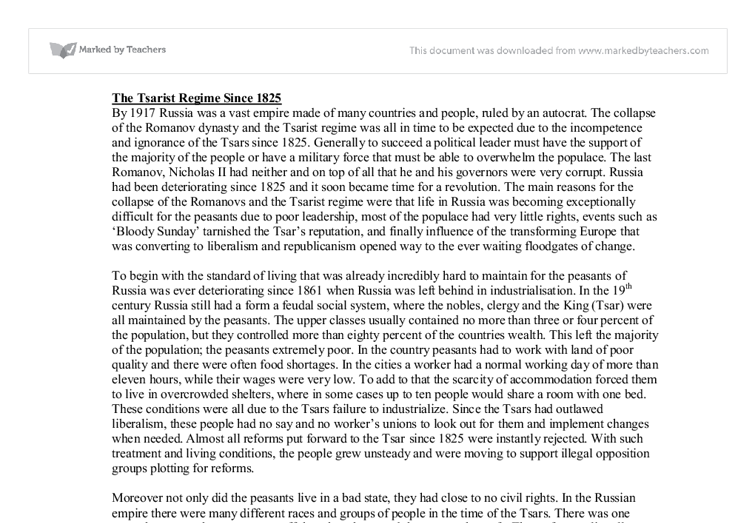 tsarist regime essay Do you really want to delete this prezi  the decline and fall of the romanov dynasty - impacts of ww1 on the tsarist regime  impacts of ww1 on the tsarist regime.