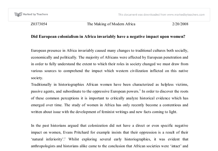 colonialism and africa essay