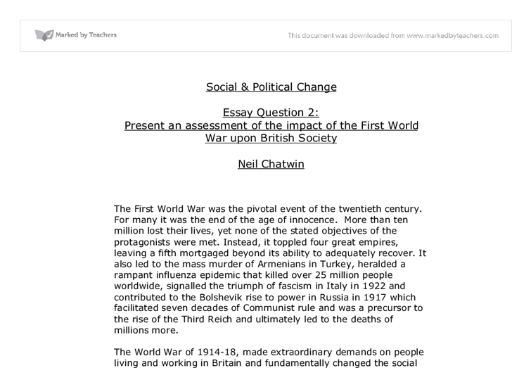 the impact of wwi on british society university historical and  document image preview