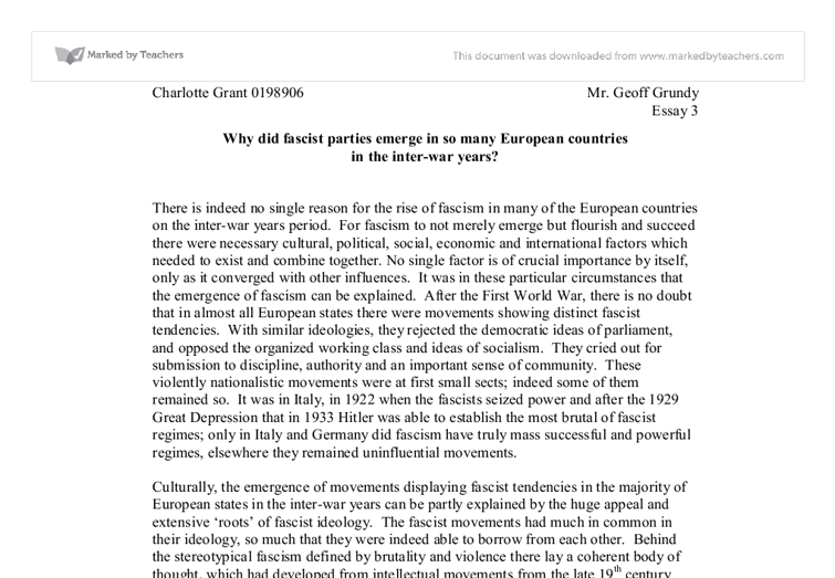 rise of fascism in europe essay Rise of fascism in europe essay rise of fascism and communism in europe-read this full essay on rise of fascism.