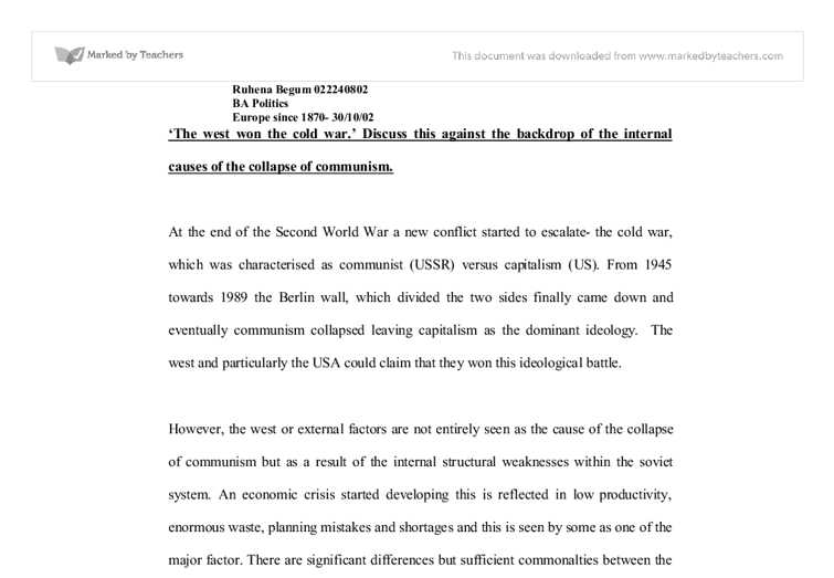 """the west won the cold war discuss essay Cold war timeline essay where people were encouraged to discuss the shortcomings of """"a history of the cold war"""", by john lukacs and the """"west."""
