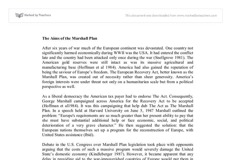 the aims of the marshall plan university historical and document image preview