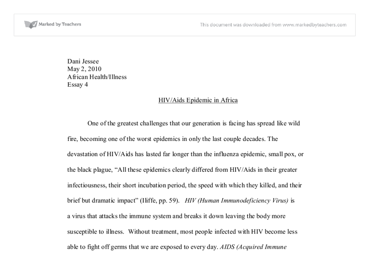 Aids epidemic in africa essay