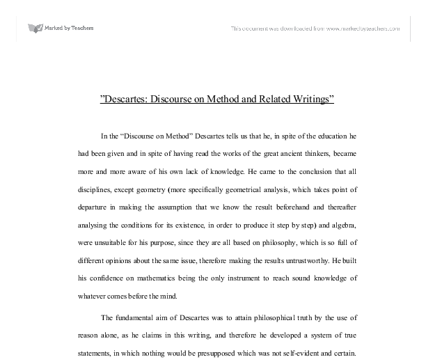 rene descartes discourse on method essay Descartes discourse on method essays: over 180,000 descartes discourse on method essays, descartes discourse on method term papers, descartes discourse on method.