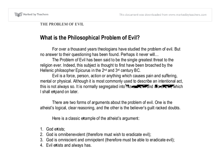 The problem of evil philosophy essay help