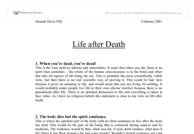 death and spirituality essay